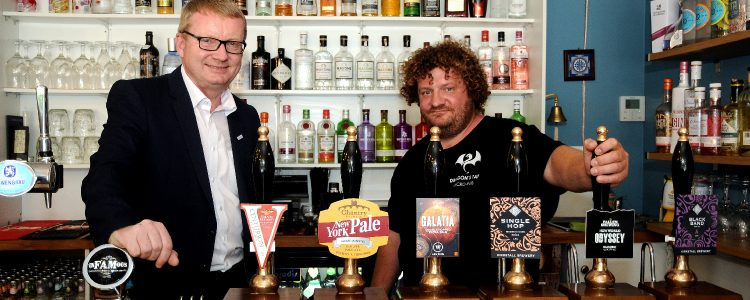 Investment Manager Dave Potts with found of Rotherham micropub the Dragon's Tap, Simon Evans
